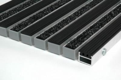 """Алюминиевые грязезащитные решетки h17 и h26 """"Ворс - резина"""""""