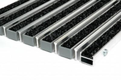 """Алюминиевые грязезащитные решетки h17 и h26 """"Ворс - скребок"""""""