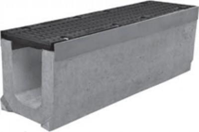 Комплект: Лоток водоотводный SUPER - 15.25.31 - бетонный с решеткой щелевой чугунной ВЧ-50, кл.D или кл.E