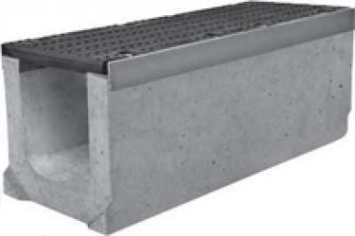 Комплект: Лоток водоотводный SUPER - 20.30.36 - бетонный с решеткой щелевой чугунной ВЧ-50, кл.D или кл.E