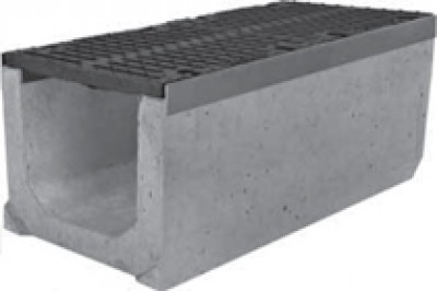 Комплект: Лоток водоотводный SUPER - 30.40.41 - бетонный с решеткой щелевой чугунной ВЧ-50, кл.E