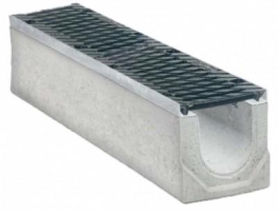 Водоотводные бетонные лотки с уклоном серии MAXI с внутренним сечением 150 мм с чугунной решеткой кл.Е