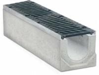 Водоотводные бетонные лотки с уклоном серии MAXI с внутренним сечением 200 мм с чугунной решеткой кл.Е
