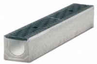 Водоотводные бетонные лотки серии MAXI с внутренним сечением 100 мм с чугунной решеткой кл.Е