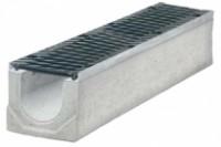 Водоотводные бетонные лотки серии MAXI с внутренним сечением 150 мм с чугунной решеткой кл.Е