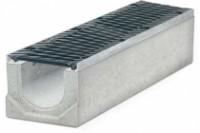 Водоотводные бетонные лотки серии MAXI с внутренним сечением 200 мм с чугунной решеткой кл.Е