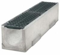 Водоотводные бетонные лотки серии MAXI с внутренним сечением 300 мм с чугунной решеткой кл.Е