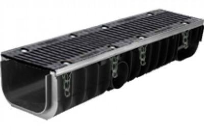 Водоотводные пластиковые лотки серии MAXI с внутренним сечением 200 мм с чугунной решеткой кл.Е