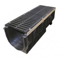 Водоотводные пластиковые лотки серии MAXI с внутренним сечением 300 мм с чугунной решеткой кл.Е